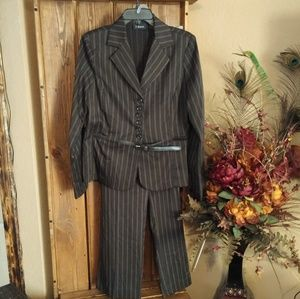 Dresses & Skirts - T. Milano Belted Brown Striped Business Pantsuit